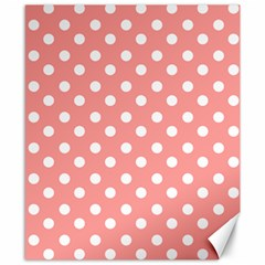 Coral And White Polka Dots Canvas 8  X 10  by creativemom