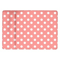 Coral And White Polka Dots Samsung Galaxy Tab 10 1  P7500 Flip Case by creativemom