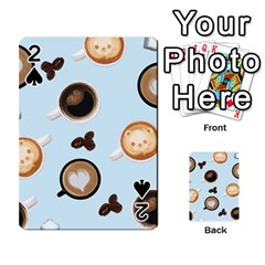 Cute Coffee Pattern On Light Blue Background Playing Cards 54 Designs  by LovelyDesigns4U