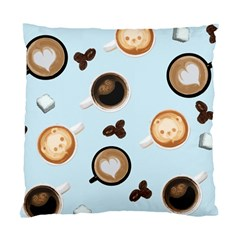 Cute Coffee Pattern On Light Blue Background Standard Cushion Cases (two Sides)  by LovelyDesigns4U