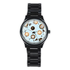 Cute Coffee Pattern On Light Blue Background Stainless Steel Round Watches by LovelyDesigns4U