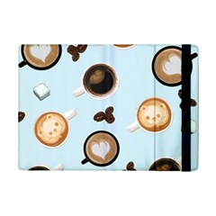 Cute Coffee Pattern On Light Blue Background Ipad Mini 2 Flip Cases by LovelyDesigns4U