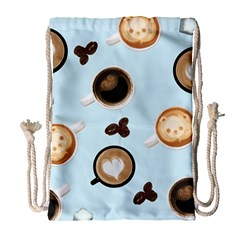 Cute Coffee Pattern On Light Blue Background Drawstring Bag (large) by LovelyDesigns4U