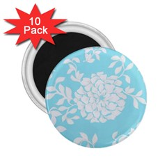 Aqua Blue Floral Pattern 2 25  Magnets (10 Pack)  by LovelyDesigns4U