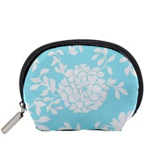 Aqua Blue Floral Pattern Accessory Pouches (small)  by LovelyDesigns4U