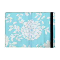Aqua Blue Floral Pattern Ipad Mini 2 Flip Cases by LovelyDesigns4U