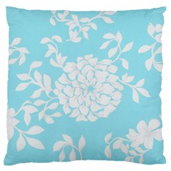 Aqua Blue Floral Pattern Large Flano Cushion Cases (Two Sides)  by LovelyDesigns4U