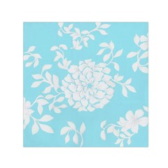 Aqua Blue Floral Pattern Small Satin Scarf (square)  by LovelyDesigns4U