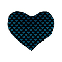 Blue Hearts Valentine s Day Pattern Standard 16  Premium Flano Heart Shape Cushions