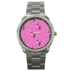 Pink Floral Pattern Sport Metal Watches by LovelyDesigns4U
