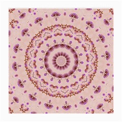 Pink And Purple Roses Mandala Medium Glasses Cloth (2 Side) by LovelyDesigns4U