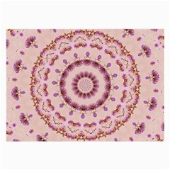 Pink And Purple Roses Mandala Large Glasses Cloth by LovelyDesigns4U