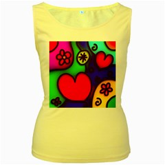 Colorful Modern Love 2 Women s Yellow Tank Tops by MoreColorsinLife