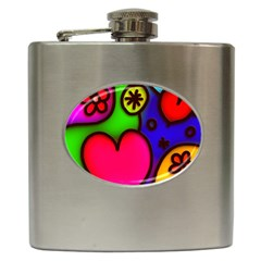 Colorful Modern Love 2 Hip Flask (6 Oz) by MoreColorsinLife