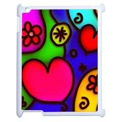 Colorful Modern Love 2 Apple Ipad 2 Case (white) by MoreColorsinLife