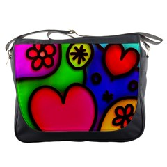 Colorful Modern Love 2 Messenger Bags by MoreColorsinLife