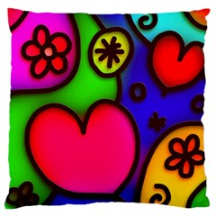 Colorful Modern Love 2 Large Cushion Cases (one Side)  by MoreColorsinLife