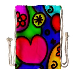 Colorful Modern Love 2 Drawstring Bag (large) by MoreColorsinLife