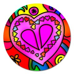 Colorful Modern Love Magnet 5  (round) by MoreColorsinLife