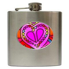 Colorful Modern Love Hip Flask (6 oz) by MoreColorsinLife