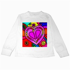 Colorful Modern Love Kids Long Sleeve T Shirts by MoreColorsinLife