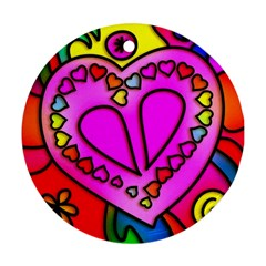Colorful Modern Love Round Ornament (Two Sides)  by MoreColorsinLife