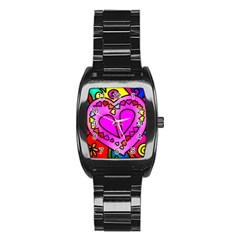 Colorful Modern Love Stainless Steel Barrel Watch by MoreColorsinLife