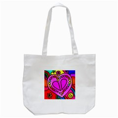 Colorful Modern Love Tote Bag (white)  by MoreColorsinLife