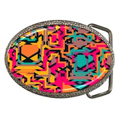 Colorful Shapes Belt Buckle by LalyLauraFLM