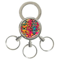 Colorful Shapes 3 Ring Key Chain by LalyLauraFLM