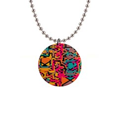 Colorful Shapes 1  Button Necklace by LalyLauraFLM