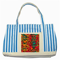 Colorful Shapes Striped Blue Tote Bag by LalyLauraFLM