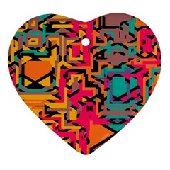 Colorful Shapes Heart Ornament (two Sides) by LalyLauraFLM