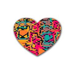 Colorful Shapes Rubber Coaster (heart) by LalyLauraFLM
