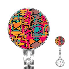 Colorful Shapes Stainless Steel Nurses Watch by LalyLauraFLM