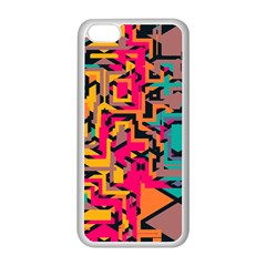 Colorful Shapes Apple Iphone 5c Seamless Case (white) by LalyLauraFLM
