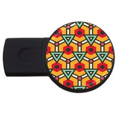 Triangles And Hexagons Pattern Usb Flash Drive Round (2 Gb) by LalyLauraFLM