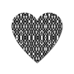 Black And White Geometric Tribal Pattern Heart Magnet by dflcprints