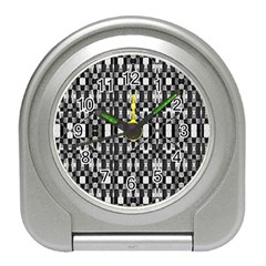 Black And White Geometric Tribal Pattern Travel Alarm Clocks by dflcprints