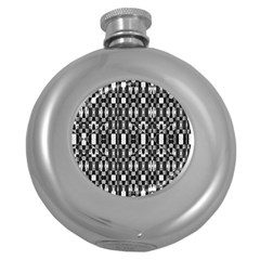 Black And White Geometric Tribal Pattern Round Hip Flask (5 Oz) by dflcprints