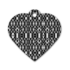 Black And White Geometric Tribal Pattern Dog Tag Heart (two Sides) by dflcprints