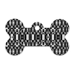 Black And White Geometric Tribal Pattern Dog Tag Bone (two Sides) by dflcprints