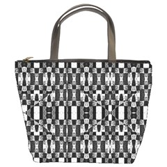 Black And White Geometric Tribal Pattern Bucket Bags by dflcprints