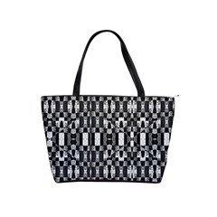 Black And White Geometric Tribal Pattern Shoulder Handbags by dflcprints