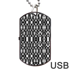 Black And White Geometric Tribal Pattern Dog Tag Usb Flash (one Side) by dflcprints