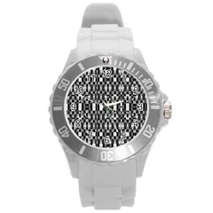 Black And White Geometric Tribal Pattern Round Plastic Sport Watch (l) by dflcprints