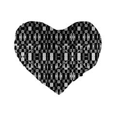Black And White Geometric Tribal Pattern Standard 16  Premium Flano Heart Shape Cushions by dflcprints
