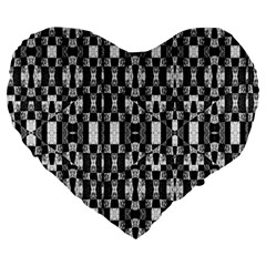 Black And White Geometric Tribal Pattern Large 19  Premium Flano Heart Shape Cushions by dflcprints