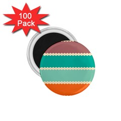 Rhombus And Retro Colors Stripes Pattern 1 75  Magnet (100 Pack)  by LalyLauraFLM