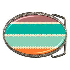Rhombus And Retro Colors Stripes Pattern Belt Buckle by LalyLauraFLM
